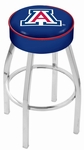 University of Arizona 25'' Chrome Finish Swivel Backless Counter Height Stool with 4'' Thick Seat [L8C125ARIZUN-FS-HOB]