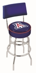 University of Arizona 25'' Chrome Finish Swivel Counter Height Stool with Double Ring Base [L7C425ARIZUN-FS-HOB]