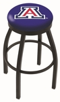 University of Arizona 25'' Black Wrinkle Finish Swivel Backless Counter Height Stool with Accent Ring [L8B2B25ARIZUN-FS-HOB]