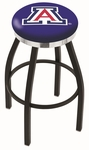 University of Arizona 25'' Black Wrinkle Finish Swivel Backless Counter Height Stool with Chrome Accent Ring [L8B2C25ARIZUN-FS-HOB]
