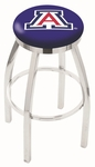 University of Arizona 25'' Chrome Finish Swivel Backless Counter Height Stool with Accent Ring [L8C2C25ARIZUN-FS-HOB]
