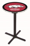 University of Arkansas 36''H Black Wrinkle Finish Counter Height Pub Table with X-Base [L211B36ARKNUN-FS-HOB]
