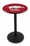 University of Arkansas 36''H Black Wrinkle Finish Counter Height Pub Table with Round Base [L214B36ARKNUN-FS-HOB]