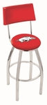University of Arkansas 25'' Chrome Finish Swivel Counter Height Stool with Cushioned Back [L8C425ARKNUN-FS-HOB]