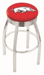 University of Arkansas 25'' Chrome Finish Swivel Backless Counter Height Stool with 2.5'' Ribbed Accent Ring [L8C3C25ARKNUN-FS-HOB]