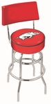 University of Arkansas 25'' Chrome Finish Swivel Counter Height Stool with Double Ring Base [L7C425ARKNUN-FS-HOB]