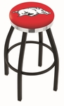 University of Arkansas 25'' Black Wrinkle Finish Swivel Backless Counter Height Stool with Chrome Accent Ring [L8B2C25ARKNUN-FS-HOB]
