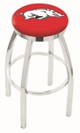 University of Arkansas 25'' Chrome Finish Swivel Backless Counter Height Stool with Accent Ring [L8C2C25ARKNUN-FS-HOB]