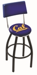 University of California Berkeley 25'' Black Wrinkle Finish Swivel Counter Height Stool with Cushioned Back [L8B425CAL-UN-FS-HOB]