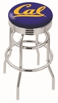 University of California Berkeley 25'' Chrome Finish Double Ring Swivel Backless Counter Height Stool with Ribbed Accent Ring [L7C3C25CAL-UN-FS-HOB]