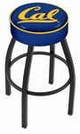 University of California Berkeley 25'' Black Wrinkle Finish Swivel Backless Counter Height Stool with 4'' Thick Seat [L8B125CAL-UN-FS-HOB]