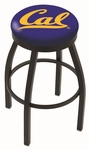 University of California Berkeley 25'' Black Wrinkle Finish Swivel Backless Counter Height Stool with Accent Ring [L8B2B25CAL-UN-FS-HOB]