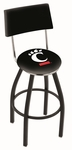 University of Cincinnati 25'' Black Wrinkle Finish Swivel Counter Height Stool with Cushioned Back [L8B425CINCIN-FS-HOB]