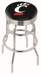 University of Cincinnati 25'' Chrome Finish Double Ring Swivel Backless Counter Height Stool with Ribbed Accent Ring [L7C3C25CINCIN-FS-HOB]