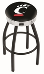 University of Cincinnati 25'' Black Wrinkle Finish Swivel Backless Counter Height Stool with Ribbed Accent Ring [L8B3C25CINCIN-FS-HOB]
