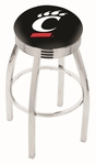 University of Cincinnati 25'' Chrome Finish Swivel Backless Counter Height Stool with 2.5'' Ribbed Accent Ring [L8C3C25CINCIN-FS-HOB]