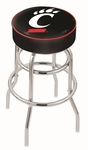 University of Cincinnati 25'' Chrome Finish Double Ring Swivel Backless Counter Height Stool with 4'' Thick Seat [L7C125CINCIN-FS-HOB]