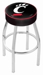 University of Cincinnati 25'' Chrome Finish Swivel Backless Counter Height Stool with 4'' Thick Seat [L8C125CINCIN-FS-HOB]