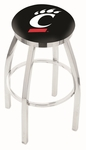 University of Cincinnati 25'' Chrome Finish Swivel Backless Counter Height Stool with Accent Ring [L8C2C25CINCIN-FS-HOB]