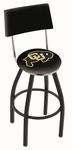 University of Colorado 25'' Black Wrinkle Finish Swivel Counter Height Stool with Cushioned Back [L8B425COLOUN-FS-HOB]