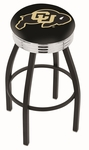 University of Colorado 25'' Black Wrinkle Finish Swivel Backless Counter Height Stool with Ribbed Accent Ring [L8B3C25COLOUN-FS-HOB]