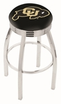 University of Colorado 25'' Chrome Finish Swivel Backless Counter Height Stool with 2.5'' Ribbed Accent Ring [L8C3C25COLOUN-FS-HOB]