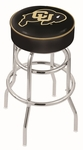 University of Colorado 25'' Chrome Finish Double Ring Swivel Backless Counter Height Stool with 4'' Thick Seat [L7C125COLOUN-FS-HOB]