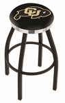 University of Colorado 25'' Black Wrinkle Finish Swivel Backless Counter Height Stool with Chrome Accent Ring [L8B2C25COLOUN-FS-HOB]