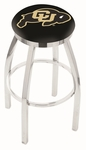 University of Colorado 25'' Chrome Finish Swivel Backless Counter Height Stool with Accent Ring [L8C2C25COLOUN-FS-HOB]