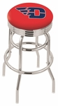 University of Dayton 25'' Chrome Finish Double Ring Swivel Backless Counter Height Stool with Ribbed Accent Ring [L7C3C25DYTNUN-FS-HOB]