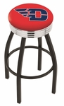 University of Dayton 25'' Black Wrinkle Finish Swivel Backless Counter Height Stool with Ribbed Accent Ring [L8B3C25DYTNUN-FS-HOB]