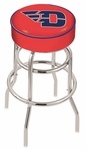 University of Dayton 25'' Chrome Finish Double Ring Swivel Backless Counter Height Stool with 4'' Thick Seat [L7C125DYTNUN-FS-HOB]