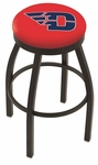 University of Dayton 25'' Black Wrinkle Finish Swivel Backless Counter Height Stool with Accent Ring [L8B2B25DYTNUN-FS-HOB]