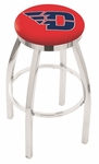 University of Dayton 25'' Chrome Finish Swivel Backless Counter Height Stool with Accent Ring [L8C2C25DYTNUN-FS-HOB]