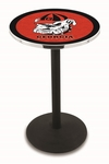 University of Georgia 36''H Black Wrinkle Finish Counter Height Pub Table with Round Base [L214B36GA-DOG-FS-HOB]
