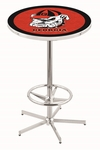 University of Georgia 42''H Chrome Finish Bar Height Pub Table with Foot Ring [L216C42GA-DOG-FS-HOB]