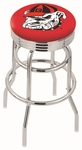 University of Georgia 25'' Chrome Finish Double Ring Swivel Backless Counter Height Stool with Ribbed Accent Ring [L7C3C25GA-DOG-FS-HOB]