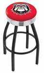 University of Georgia 25'' Black Wrinkle Finish Swivel Backless Counter Height Stool with Ribbed Accent Ring [L8B3C25GA-DOG-FS-HOB]