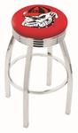 University of Georgia 25'' Chrome Finish Swivel Backless Counter Height Stool with 2.5'' Ribbed Accent Ring [L8C3C25GA-DOG-FS-HOB]