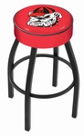 University of Georgia 25'' Black Wrinkle Finish Swivel Backless Counter Height Stool with 4'' Thick Seat [L8B125GA-DOG-FS-HOB]