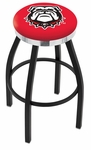 University of Georgia 25'' Black Wrinkle Finish Swivel Backless Counter Height Stool with Chrome Accent Ring [L8B2C25GA-DOG-FS-HOB]