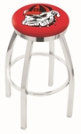 University of Georgia 25'' Chrome Finish Swivel Backless Counter Height Stool with Accent Ring [L8C2C25GA-DOG-FS-HOB]