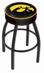 University of Iowa 25'' Black Wrinkle Finish Swivel Backless Counter Height Stool with 4'' Thick Seat [L8B125IOWAUN-FS-HOB]