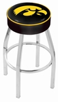 University of Iowa 25'' Chrome Finish Swivel Backless Counter Height Stool with 4'' Thick Seat [L8C125IOWAUN-FS-HOB]