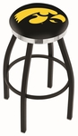 University of Iowa 25'' Black Wrinkle Finish Swivel Backless Counter Height Stool with Chrome Accent Ring [L8B2C25IOWAUN-FS-HOB]