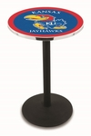 University of Kansas 36''H Black Wrinkle Finish Counter Height Pub Table with Round Base [L214B36KNSASU-FS-HOB]