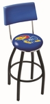 University of Kansas 25'' Black Wrinkle Finish Swivel Counter Height Stool with Cushioned Back [L8B425KNSASU-FS-HOB]