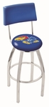 University of Kansas 25'' Chrome Finish Swivel Counter Height Stool with Cushioned Back [L8C425KNSASU-FS-HOB]
