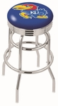 University of Kansas 25'' Chrome Finish Double Ring Swivel Backless Counter Height Stool with Ribbed Accent Ring [L7C3C25KNSASU-FS-HOB]