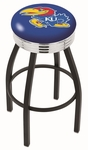 University of Kansas 25'' Black Wrinkle Finish Swivel Backless Counter Height Stool with Ribbed Accent Ring [L8B3C25KNSASU-FS-HOB]